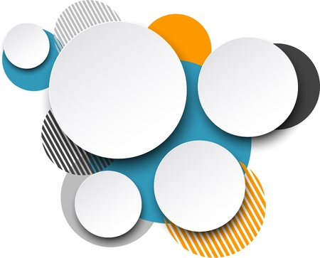 burbuja: Ilustración vectorial de blanco bocadillos redondos de papel sobre fondo de colores.