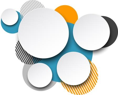Vector afbeelding van white paper ronde tekstballonnen over kleurrijke achtergrond.