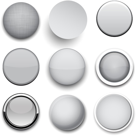 metallic button: Set of blank grey round buttons for website or app. Vector eps10. Illustration