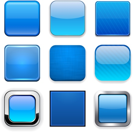 website buttons: Set of blank blue square buttons for website or app. Vector eps10.