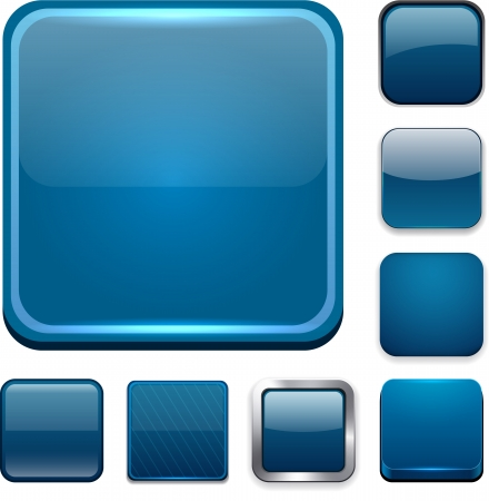 square buttons: Set of blank dark blue square buttons for website or app. Vector eps10.