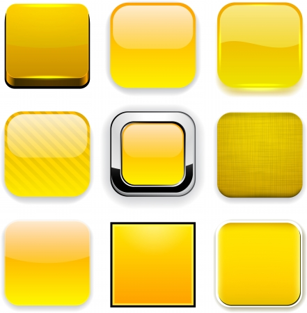 Set of blank yellow square buttons for website or app. Vector eps10. Vector