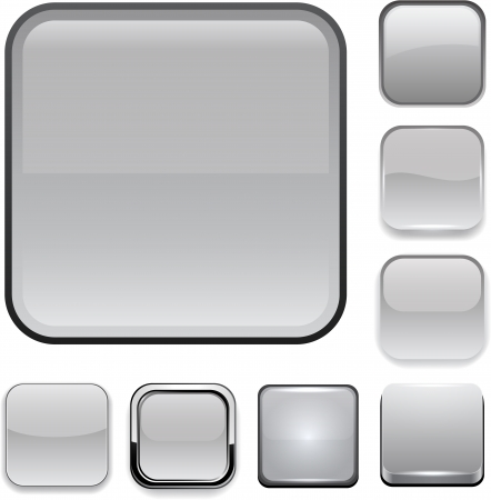 Set of blank grey square buttons for website or app. Vector eps10. Illustration