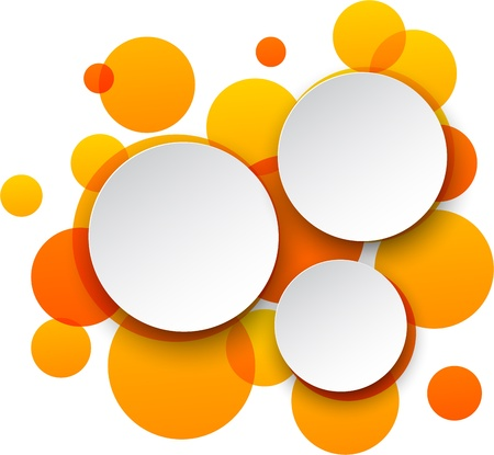 Vector illustration of white paper round speech bubbles over orange background. Eps10. Vector