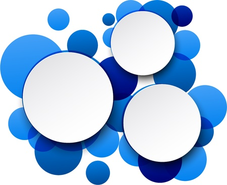 Vector illustration of white paper round speech bubbles over blue background. Vector