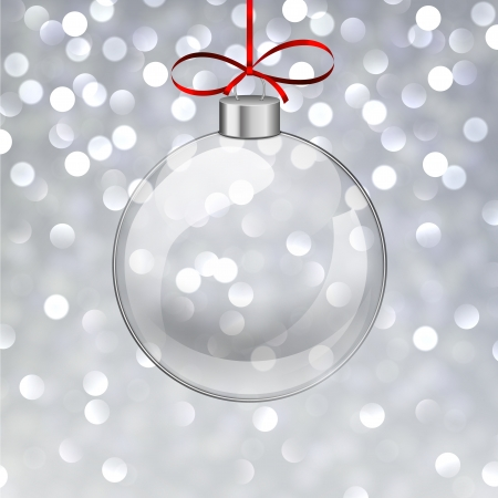 Silver defocused background. Bright bokeh. Glass ball.  Vector