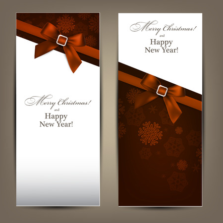 Christmas paper banners with brown bows.  Vector