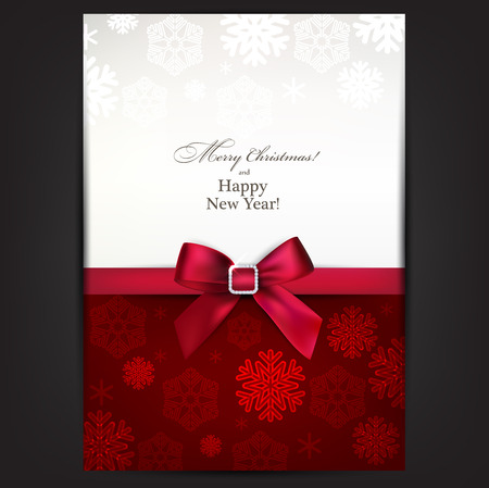 Christmas paper background with red bow.  Vector