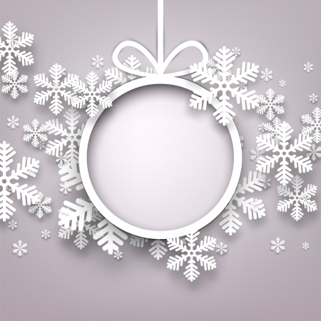 Christmas snowflakes background with paper round ball. Vector