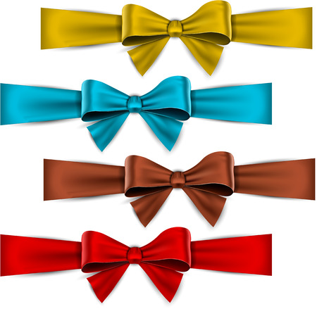 ribbon red: Set of colorful satin bows. Vector ribbons for gift.