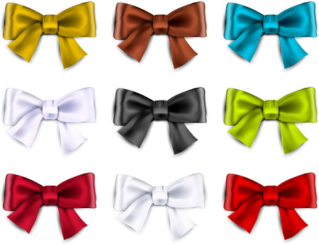 Set of colorful satin bows. Vector ribbons for gift. Eps10.  Vector