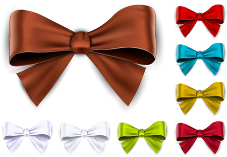 eps10: Set of colorful satin bows. Vector ribbons for gift. Eps10.