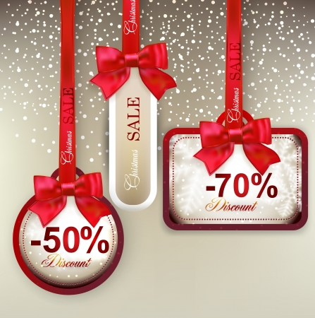 Set of sale and discount paper labels with red bows and ribbons. Vector. Vector