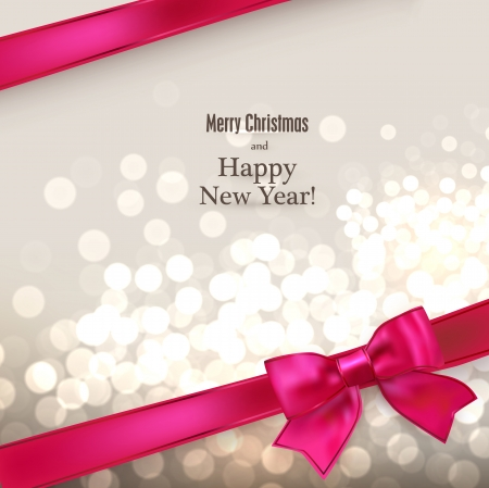 Abstract christmas card with magenta gift bow and ribbon. Vector illustration.