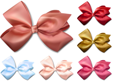 eps10 vector: Set of colorful satin bows. Vector ribbons for gift. Eps10.   Illustration