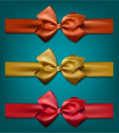 eps10: Set of colorful satin bows. Vector ribbons for gift. Eps10.  Illustration