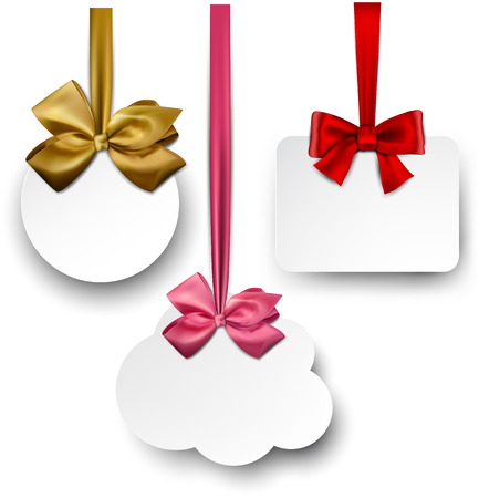 copy: Gift cards with ribbons and satin bows. Vector illustration.