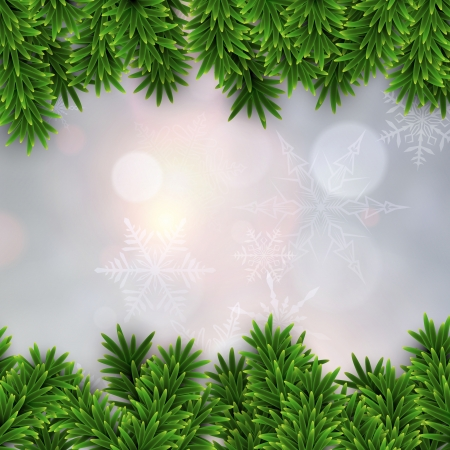 Detailed frame with fir. Christmas background. Vector illustration.  Vector