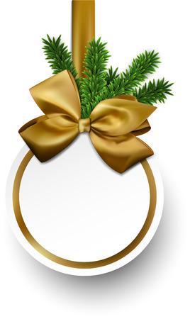 adornos navideños: Tarjeta de Navidad de regalo con cinta dorada y lazo de satén. Ilustración del vector.