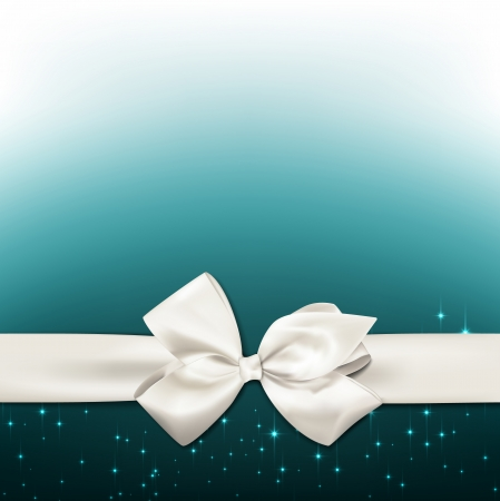 Gift white ribbon with bow over sparkle background. Vector illustration.