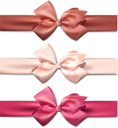 Set of colorful satin bows. Vector ribbons for gift.  Illustration