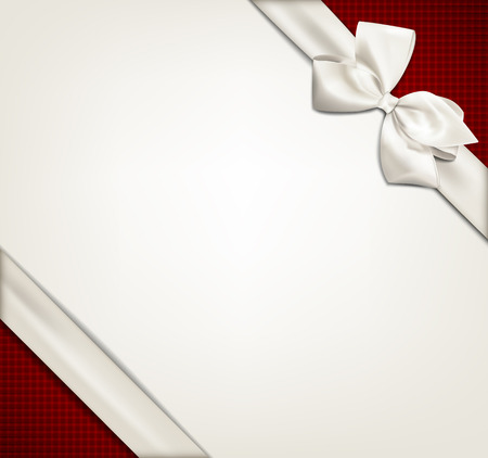 ribbon: Gift white ribbon with bow over red and beige background. Vector illustration.