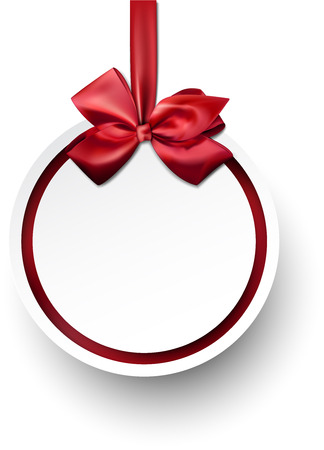 paper ball: Christmas gift card with red ribbon and satin bow. Vector illustration.