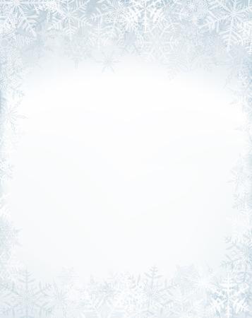 crystallic 눈송이와 겨울 프레임입니다. 크리스마스 배경입니다. 벡터.