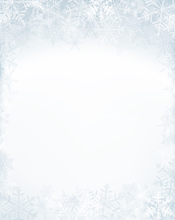 Winter frame with crystallic snowflakes. Christmas background. Vector.