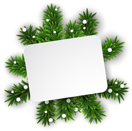 post card: Paper white gift card over green christmas tree branches. Vector illustration.   Illustration