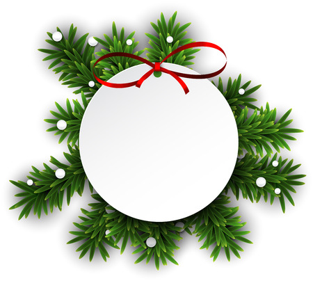 post card: Paper white round gift card with red bow over green christmas tree branches. Vector illustration.