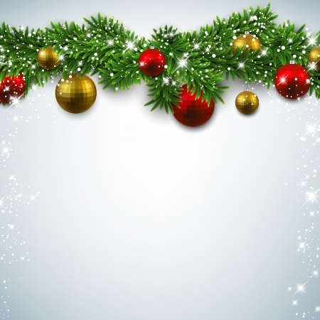 Christmas background with fir twigs and colorful balls. Vector illustration.  Vector