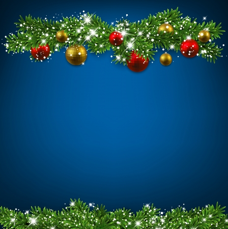 Christmas blue background with fir twigs and colorful balls. Vector illustration.