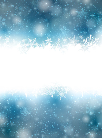 Winter blue background with crystallic snowflakes. Christmas decoration. Vector.  Stock Vector - 23312938