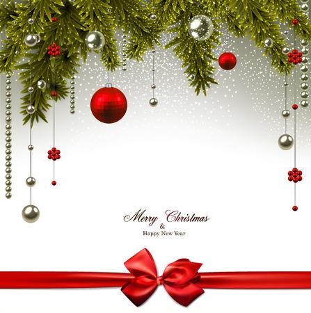 spar: Kerst achtergrond met dennen takken en rode ballen. Vector illustratie.