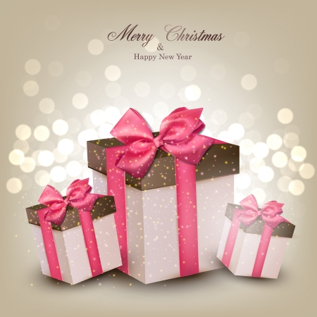 Vibrant defocused background. Bright bokeh with gift boxes. Vector illustration.