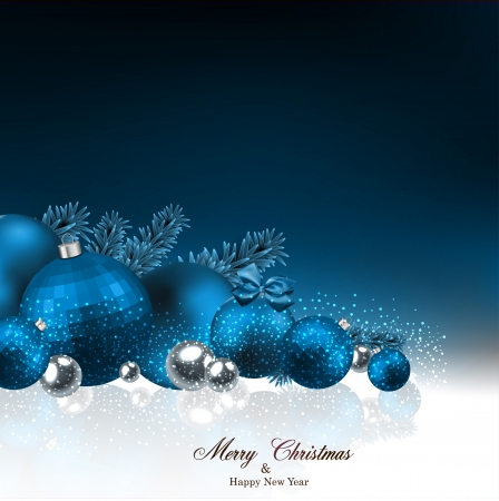 Dark blue christmas background with fir twigs and balls. Vector illustration.