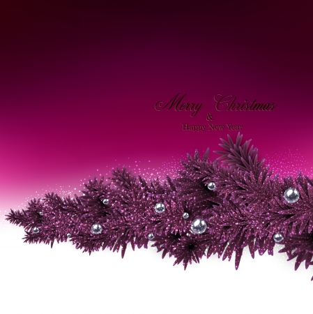 Magenta christmas background with fir twigs and metallic balls. Vector illustration.  Vector
