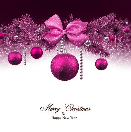 전나무 나뭇 가지와 공 마젠타 크리스마스 배경입니다. 벡터 일러스트 레이 션.