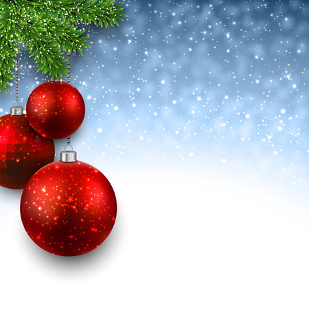 Blue christmas background with red decorative balls on fir branches. Vector illustration.
