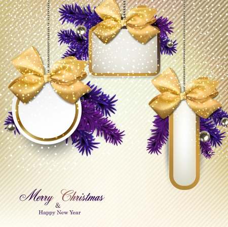 Christmas gift cards with  yellow ribbon and satin bows. Vector illustration.  Illustration