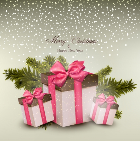 Christmas background with fir twigs and gift boxes. Vector illustration.  Vector