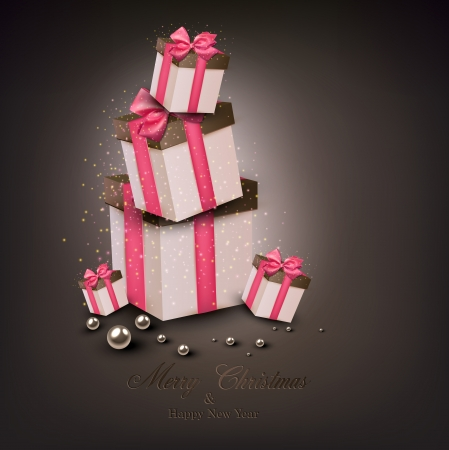 pink ribbons: Christmas gift boxes with pink ribbons over dark background. Vector illustration.