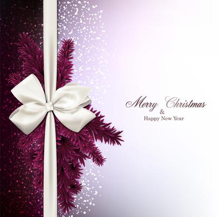 Magenta Weihnachten Hintergrund mit Tannenzweigen und Geschenk Bogen. Vektor-Illustration.