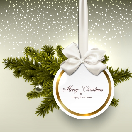 green bow: Christmas gift card with ribbon and satin bow. Vector illustration.  Illustration