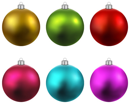 gold: Colorful christmas balls. Set of isolated realistic decorations. Vector illustration.  Illustration