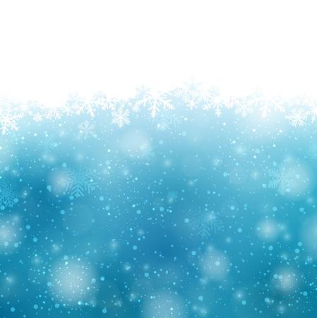 Winter blauwe achtergrond met crystallic sneeuwvlokken. Kerst decoratie. Vector.