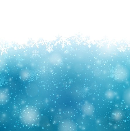 winter: Winter blue background with crystallic snowflakes. Christmas decoration. Vector.