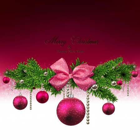Magenta christmas background with fir twigs and balls. Vector illustration.  Vector