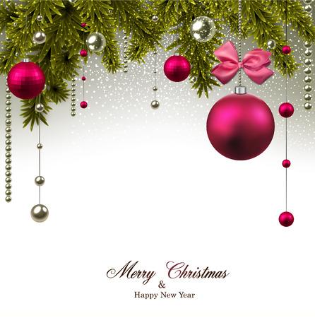전나무 나뭇 가지와 마젠타 공 크리스마스 배경입니다. 벡터 일러스트 레이 션.